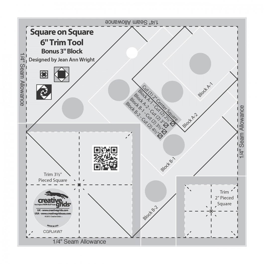 Creative Grids Square on Square Trim Tool - 3in or 6in Finished