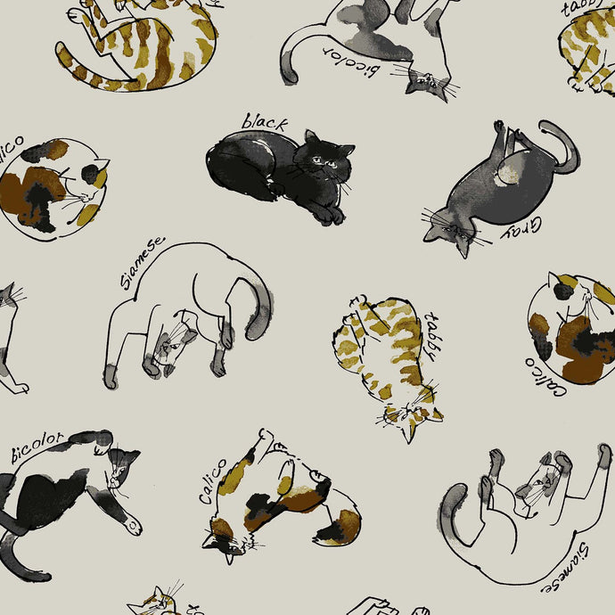Cosmo fabrics with tossed cats cotton linen canvas