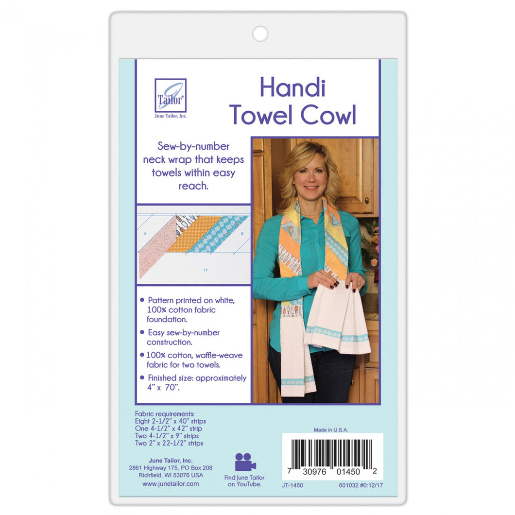Handi Towel Cowl pattern and template to wear your towel around your neck