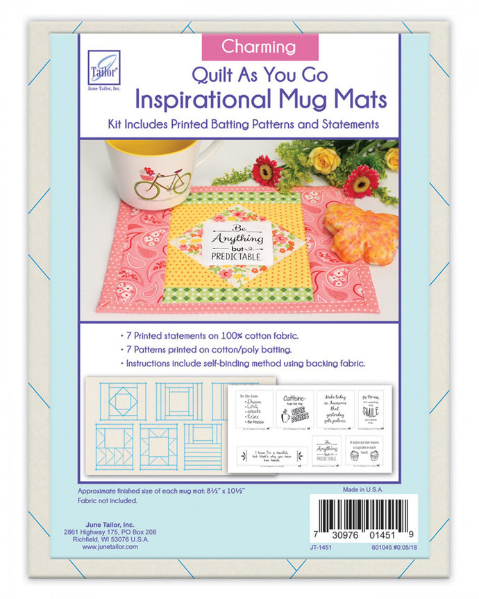 Just add fabric! Mug mat kit with charming phrases