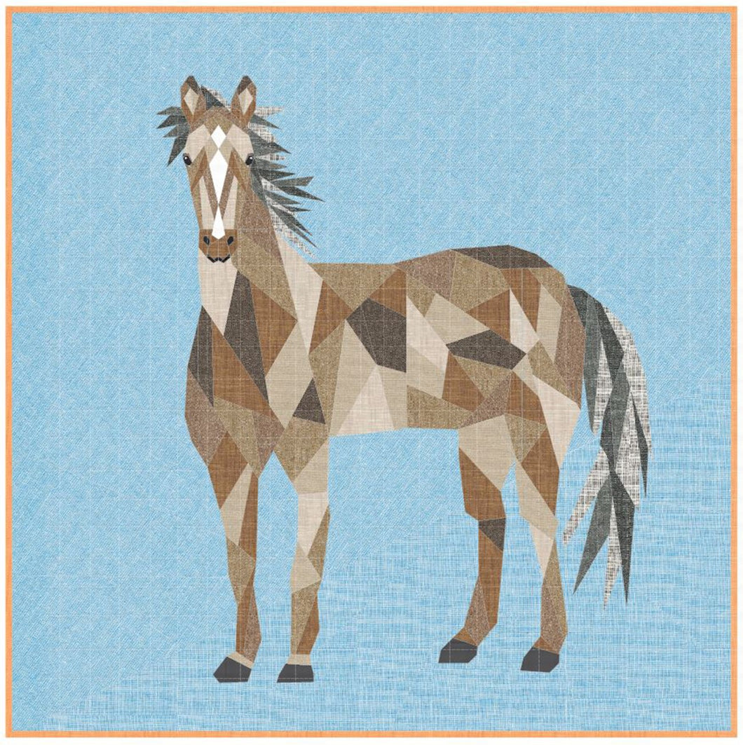 Horse Abstractions Quilt Kit by Violet Craft featuring Essex Yarn Dyed