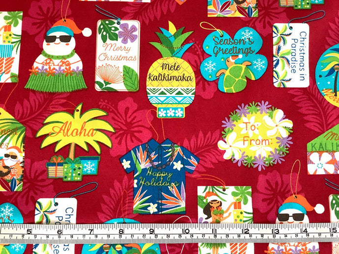 Mele Kalikimaka Hawaiian Seasons Greetings Merry Christmas red colorway