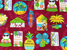 Load image into Gallery viewer, Mele Kalikimaka Hawaiian Seasons Greetings Merry Christmas red colorway