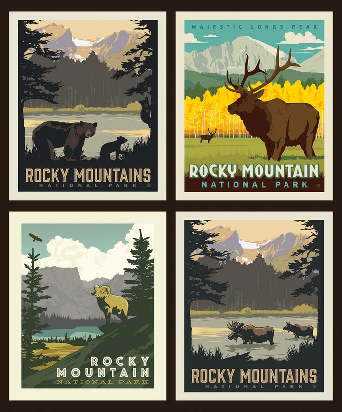 National Parks Pillow panel Rocky Mountain Parks
