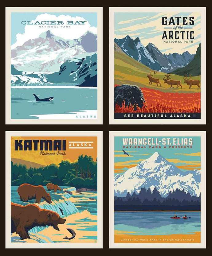National Parks Pillow panel Alaska Parks