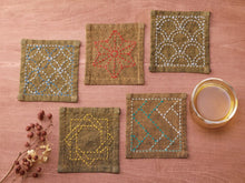 Load image into Gallery viewer, Sashiko Tsumugi Sampler Coasters to stitch Golden yellow (closer to sage)