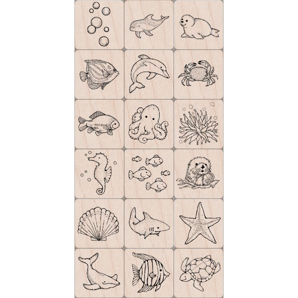Mounted Rubber Stamp Set Sealife