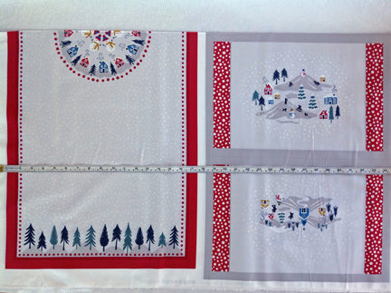Snow Day pearlized accents placemat and table runner
