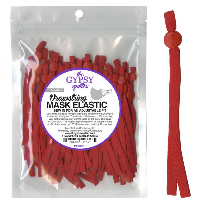 Drawstring Mask Elastic red 60 piece latex free