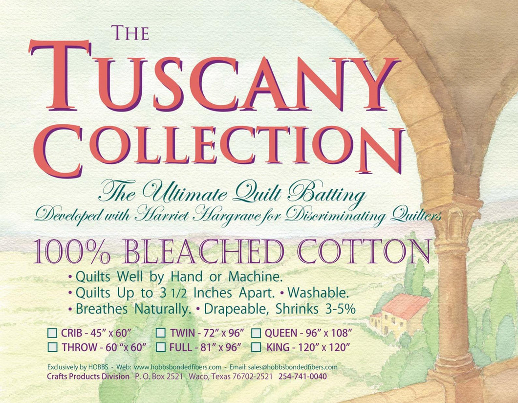 Tuscany King 100% Cotton Batting Bleached
