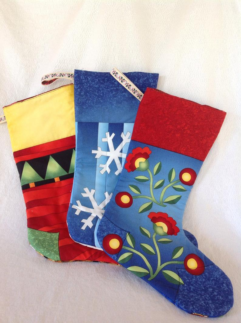 Tropical holiday stockings sewn by Pat