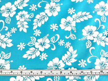 Load image into Gallery viewer, Hawaiian Hibiscus White on turquoise
