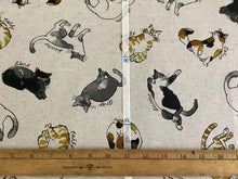 Load image into Gallery viewer, Cosmo fabrics with tossed cats cotton linen canvas