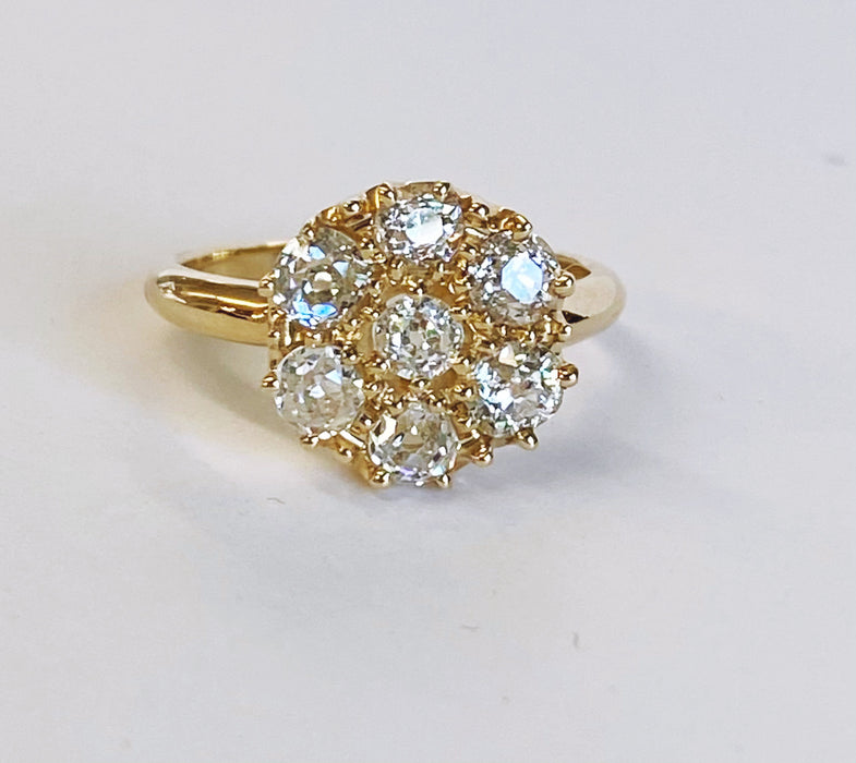 Custom Made Mine cut Diamond Cluster Ring