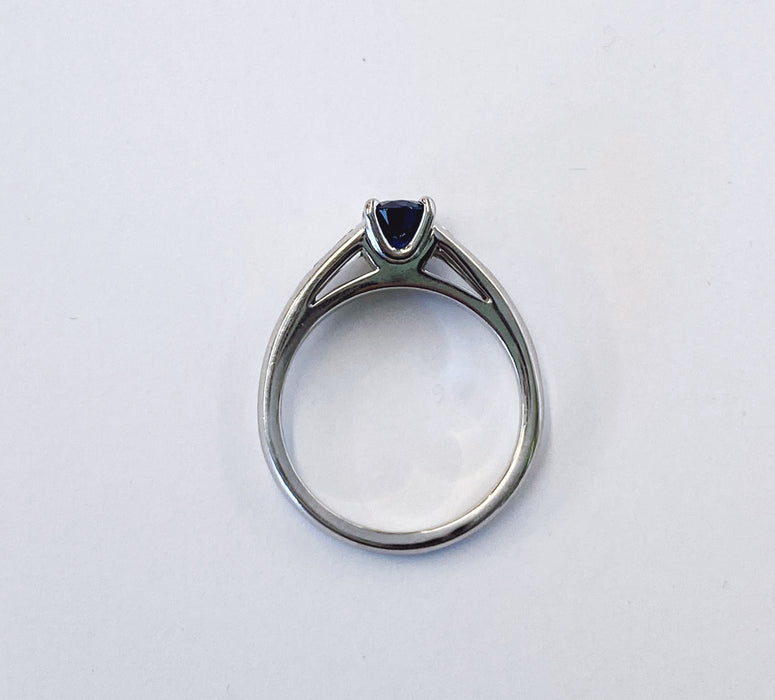 Oval Sapphire and Diamond Platinum Ring