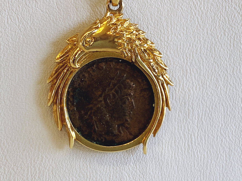 Ancient Roman Coin in 18K Bezel