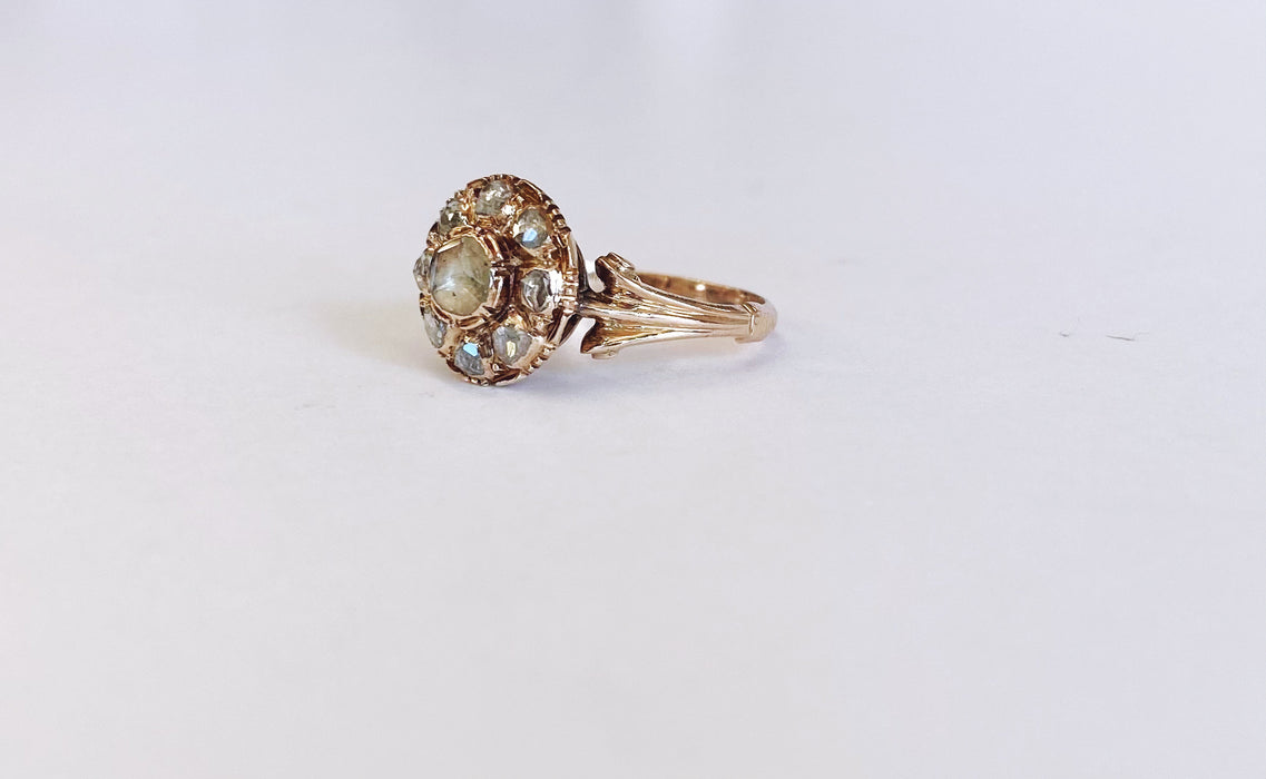 Early Victorian Rose Cut Diamond Ring Circa 1880's