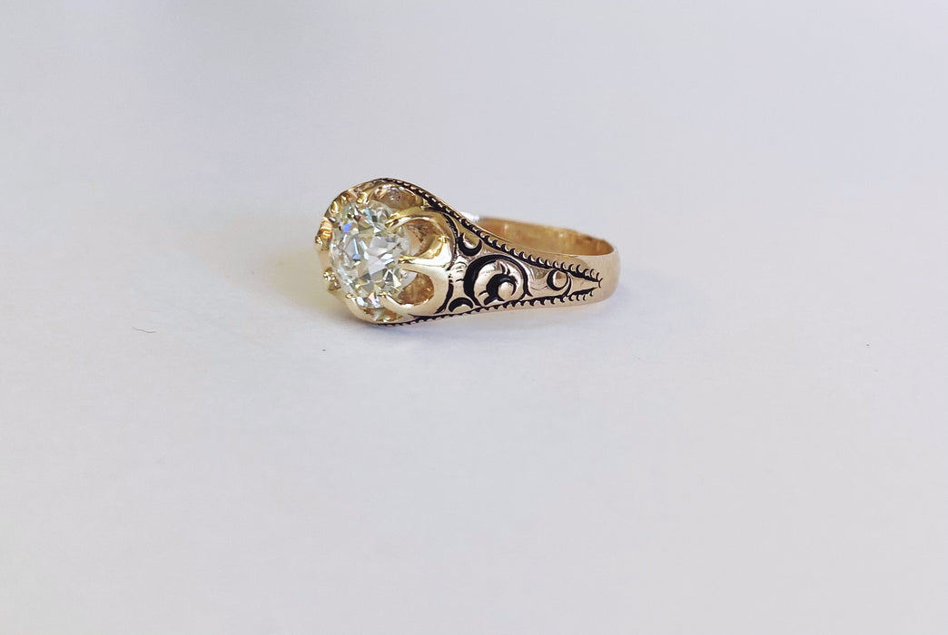 Victorian Belcher Ring with Engraving