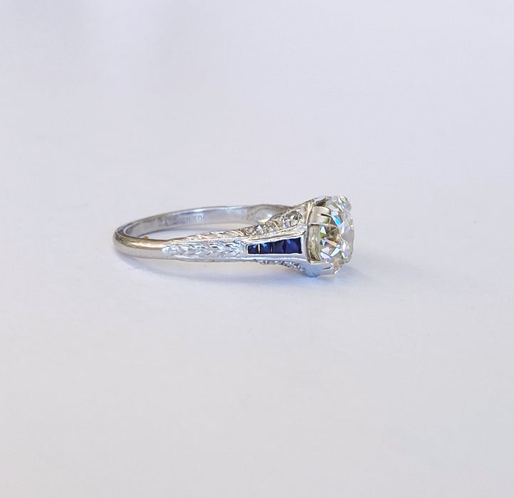 1.89 carat Diamond And Sapphire Platinum Ring
