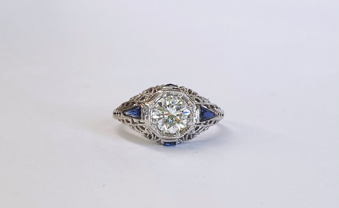 Filigree Sapphire and Diamond Ring