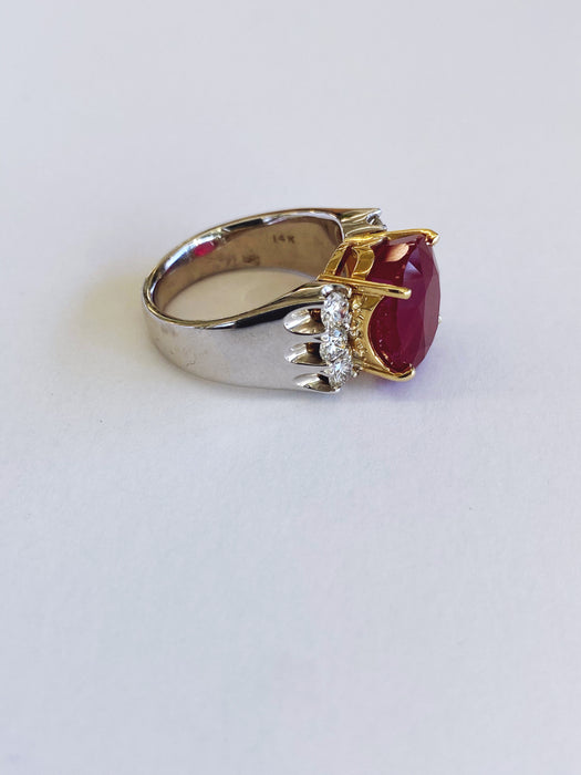 9.55 carat Custom Ruby Ring