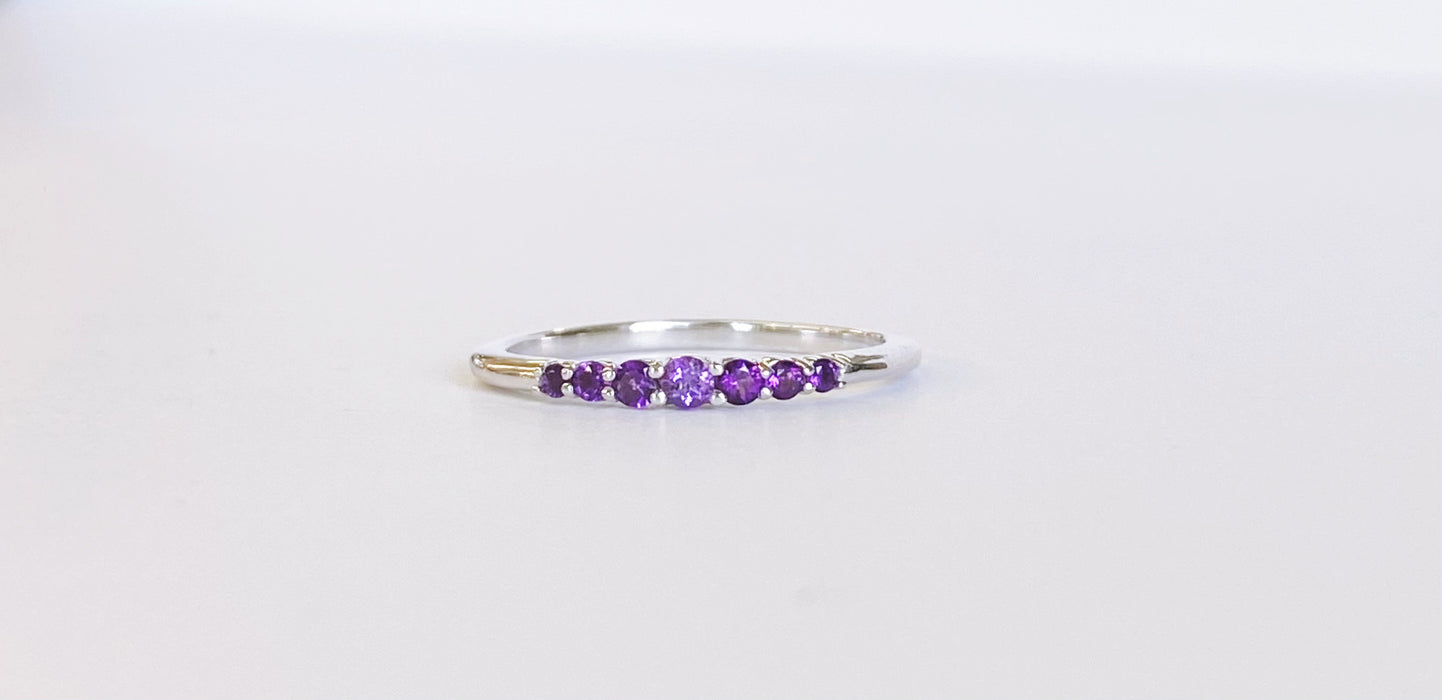 Amethyst Birthstone Stack Band