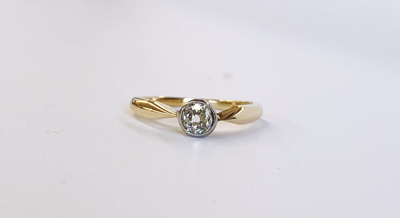 Victorian Mine Cut Diamond Solitaire
