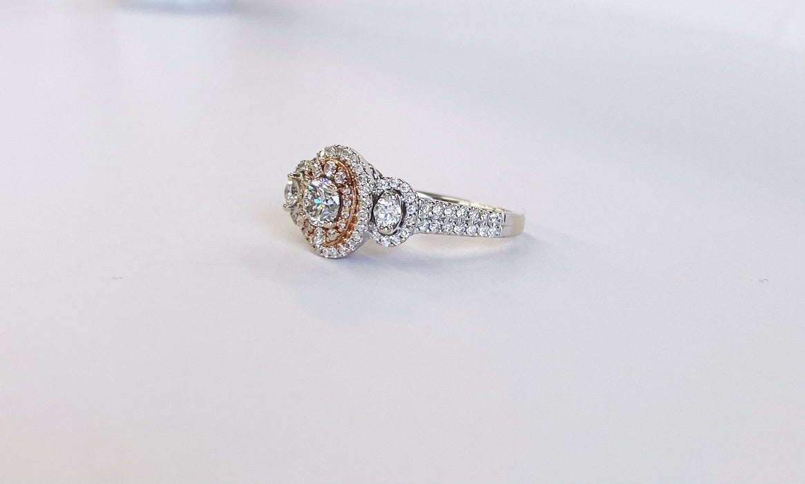 Oval Shape White and Rose Gold Halo Ring