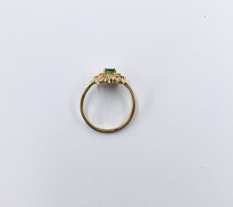 Emerald and Diamond Floral Style Ring