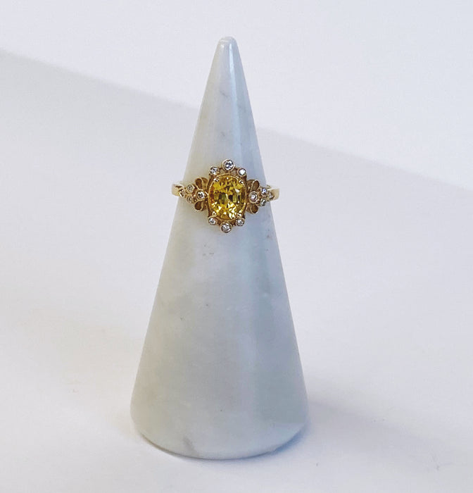 Yellow Sapphire Vintage Inspired Ring