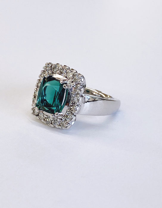 2.87 carat Teal Tourmaline Ring