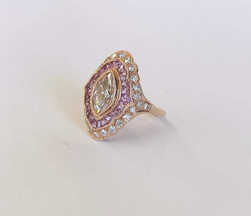 Custom Marquise Diamond and Pink Sapphire Rose Gold Ring