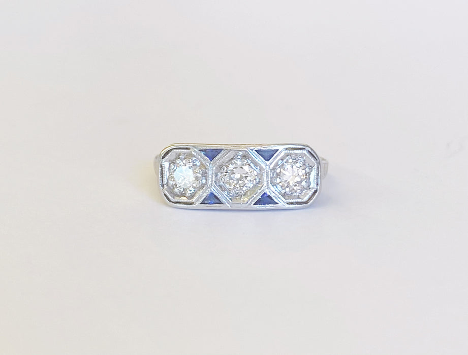 Art Deco 3 Diamond Ring with Sapphire