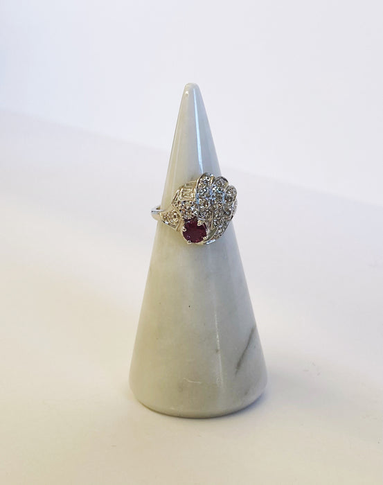 Retro Ruby and Diamond Cocktail Ring