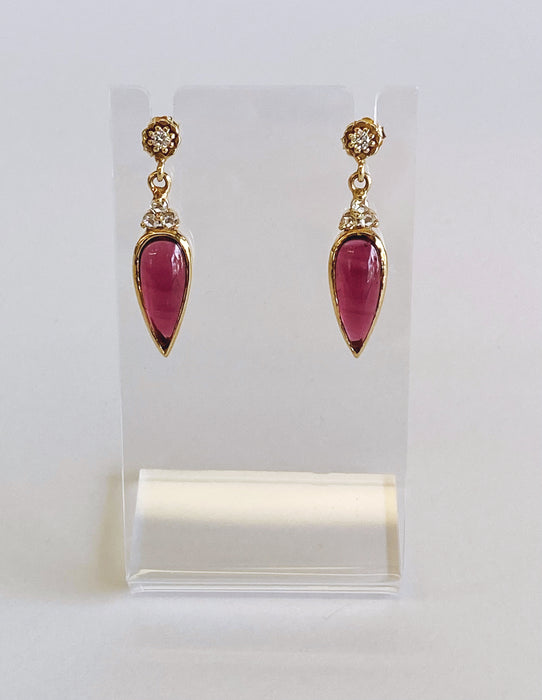 Vintage Cabochon Pink Tourmaline and Rosae cut Diamond Dangle Earrings