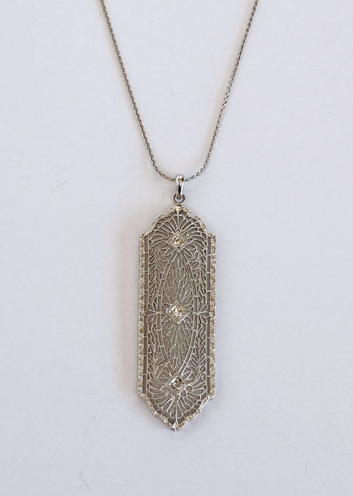 Long Filigree Art Deco Pendant
