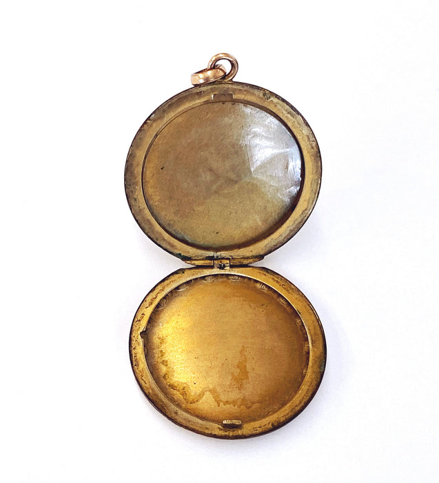 Gold-filled Locket with Engraved Flowers, Victorian