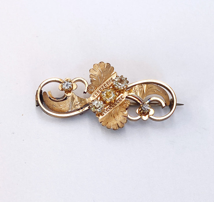 Gold-filled pin with Round Crystals, Victorian