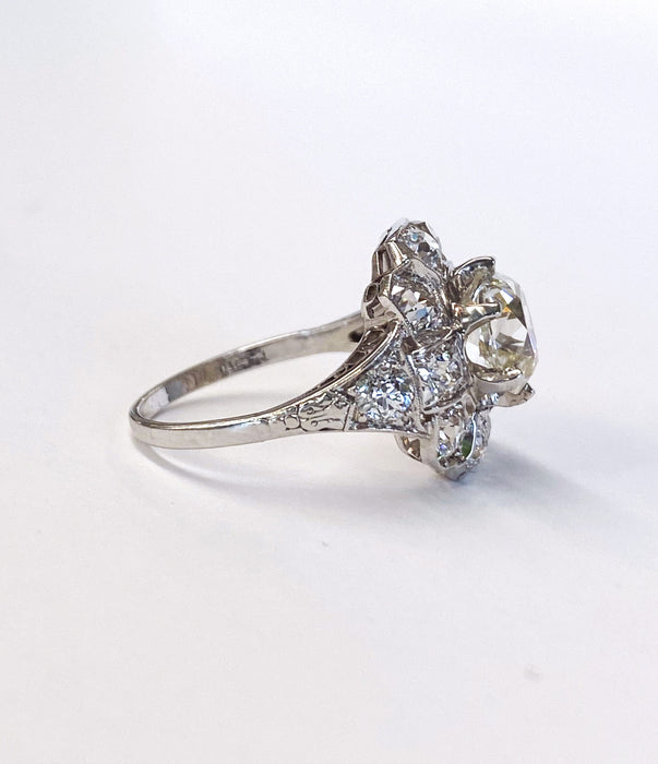 2.13 carat Center Edwardian Diamond Ring in Platinum