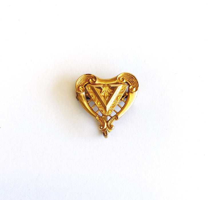 Gold-filled Heart-shaped Watch Pin, Victorian