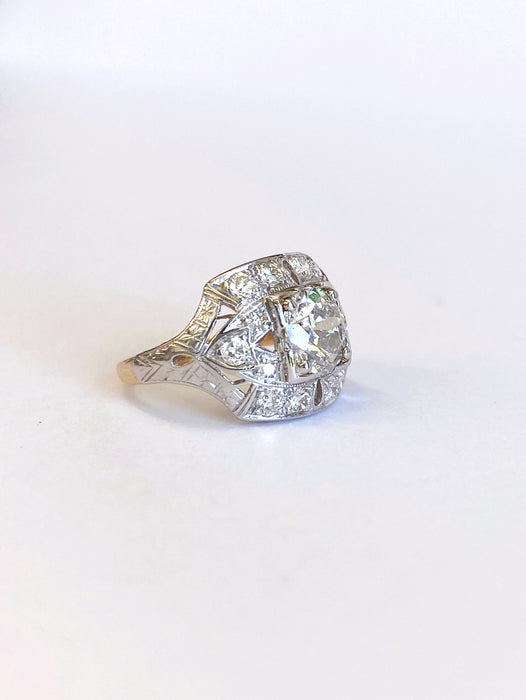 1.06 carat Center Mid Century Platinum and 14k Yellow Gold Diamond Ring