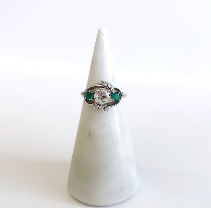 Retro Emerald and Diamond 3 Stone Ring