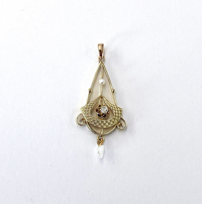 0.03 carat Water Drop and Seed Pearl Pendant in 10k Yellow Gold, Victorian