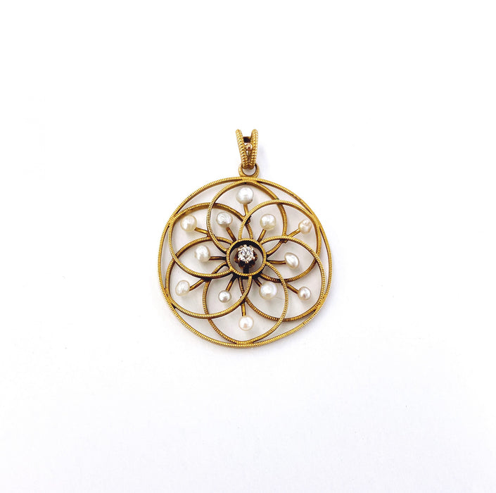 0.04 carat Diamond Circle Seed Pearl Pendant in 14k Yellow Gold, Victorian