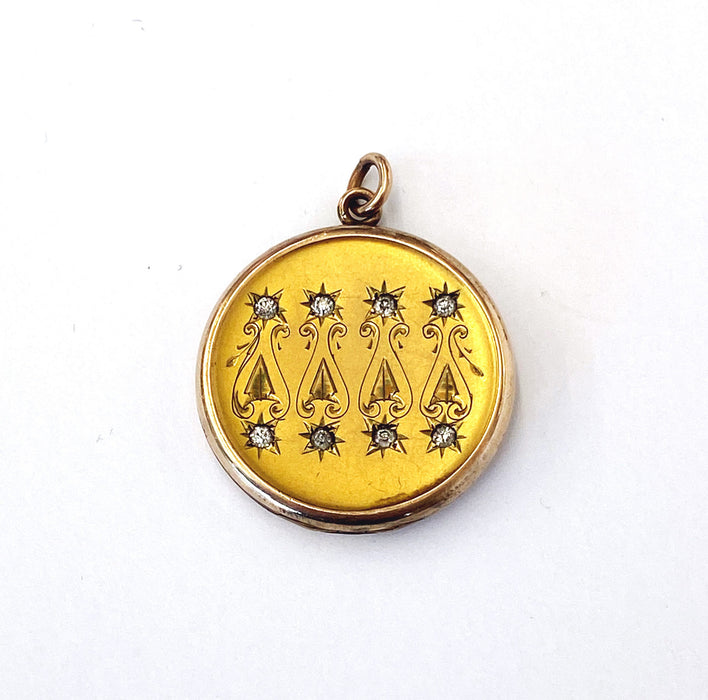 Gold-filled Rhinestone Locket Engraved with 1907, Victorian