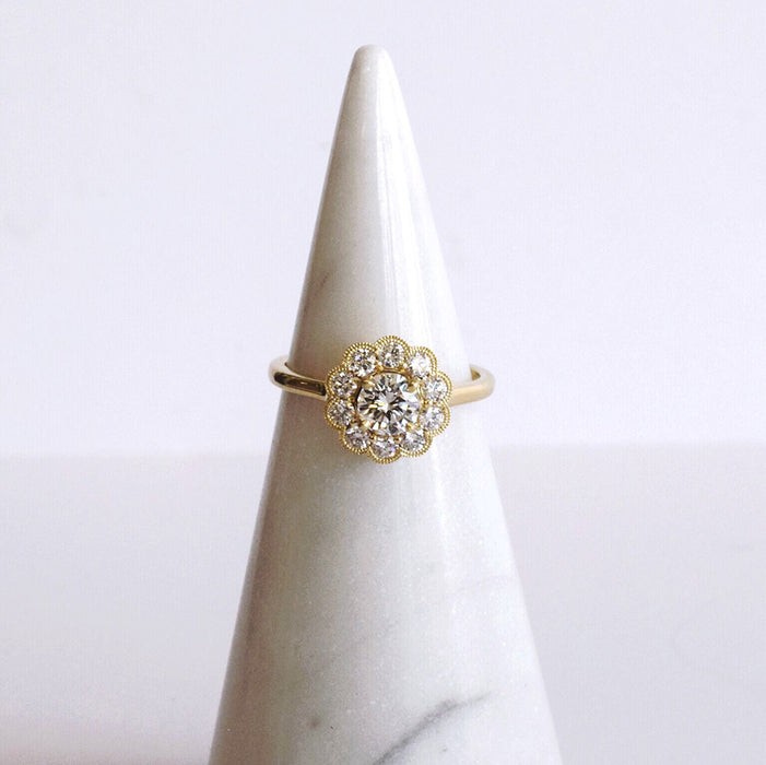 Flower Halo Ring in Yellow Gold