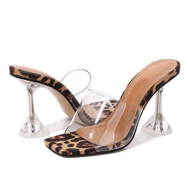 Apricot Leopard Print Pyramid heel Sandals - Trendo Chic