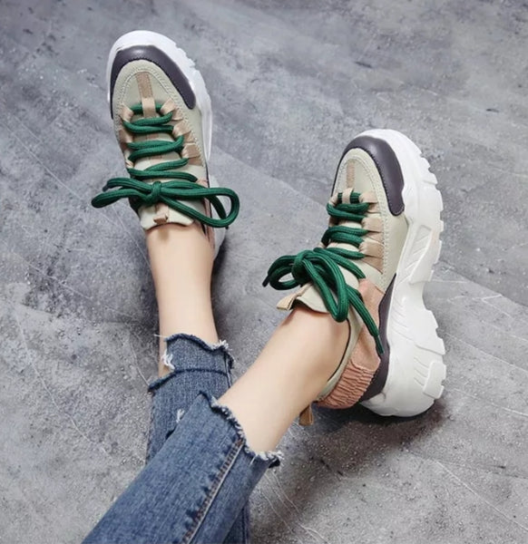Beige Chunky Sneakers for Women  - Trendo Chic