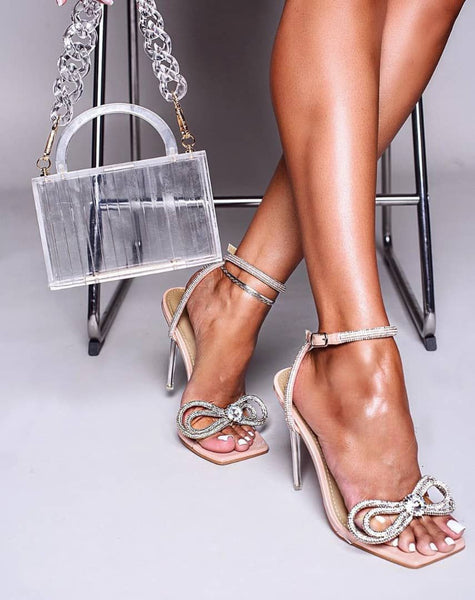 Beige Diamante Bowtie Sandals - Trendo Chic