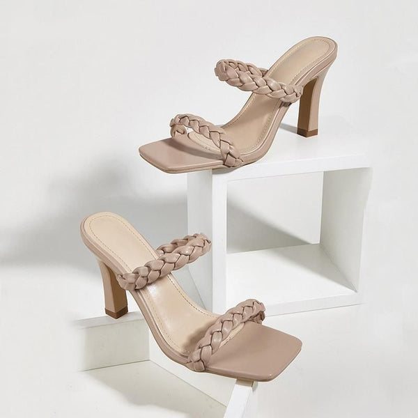 Beige Quilted Square Toe Sandals - Trendo Chic